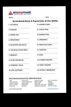 Scrambled Musicians Worksheets - Rock & Pop of the 2000s